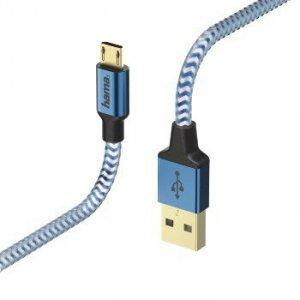 Kabel ładujący/data Reflected - odblaskowy Micro USB 1.5m niebieski - Hama