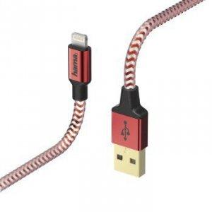 Kabel ładujący/data Reflected - odblaskowy Lightning 1.5m czerwony - Hama