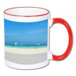 Biały foto kubek z czerwonym uchem + twoje zdjęcie