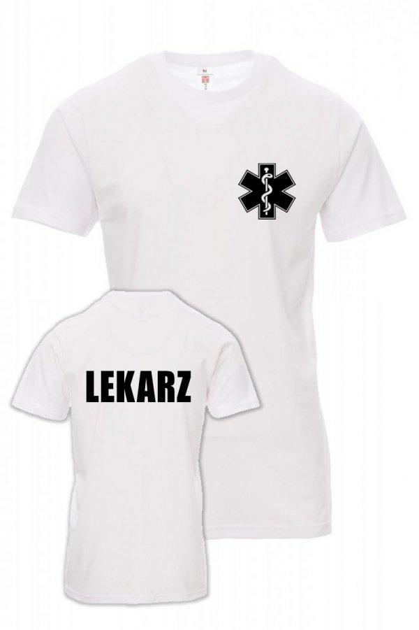Koszulka biała - znakowanie - LEKARZ - napis na plecach