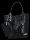 Univerzální Kožené Kabelky Shopper Bag XL se zvířecím motivem Vittoria Gotti Černá