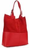 Torebka Skórzana Ekskluzywny Shopper bag czerwona