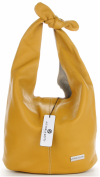 Vittoria Gotti Made in Italy Modny Shopper XL z Kosmetyczką Uniwersalna Torba Skórzana na co dzień Żółta