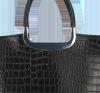Elegancki Kuferek Skórzany w motyw aligatora Vittoria Gotti Made in Italy Czarny