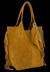 Modna Torebka Skórzana Zamszowy Shopper Bag w Stylu Boho firmy Vittoria Gotti Jasno Ruda