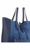 Włoskie Torebki Skórzane VITTORIA GOTTI ShopperBag z Etui Niebieska - Jeans