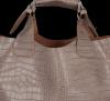Vittoria Gotti Ekskluzywna Torebka Skórzana Shopper produkcji Włoskiej w modny wzór aligatora z Kosmetyczką Ziemista