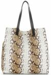 Vittoria Gotti Ekskluzywny Firmowy Shopper XL produkcji Włoskiej w modny wzór węża z Kosmetyczką Rudy