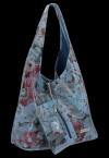 Torebka Skórzana firmy Vittoria Gotti Uniwersalny Włoski Shopper w modne wzory Kwiatów Jeans
