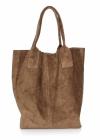 Torebka skórzana  Shopper bag zamsz naturalny Ziemia