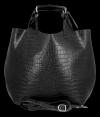 Vittoria Gotti Ekskluzywna Torebka Skórzana Shopper produkcji Włoskiej w modny wzór aligatora z Kosmetyczką Czarna