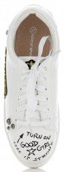 Tenisówki Damskie w modne wzory firmy Ideal Shoes Białe