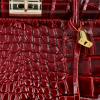 Ekskluzywny Lakierowany Kuferek Skórzany w motyw aligatora Vittoria Gotti Made in Italy Bordowy