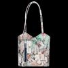 Uniwersalna Torebka Skórzana z funkcją plecaczka  firmy Vittoria Gotti Made in Italy we wzory Kwiatów Granat
