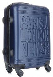 Módní Palubní kufřík Or&Mi Paris/London/NewYork 4 kolečka tmavě modrá