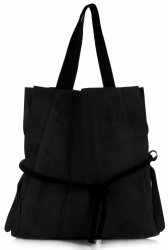Univerzální kožená italská kabelka Vittoria Gotti Made in Italy Shopperbag XL s kosmetickou Černá