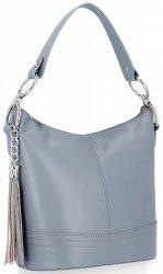 Klasická kabelka z kůže do ruky s dlouhým páskem Světle šedá