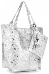 Kožené kabelky Shopper bag Lakované stříbrná