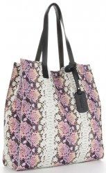 Vittoria Gotti Exkluzivní Kožené Kabelky Shopperbag XL hadí vzor s kosmetickou Růžová