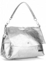 Elegantní kožené kabelky Vittoria Gotti stříbrná