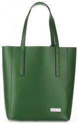 Elegantní kožená italská kabelka Vittoria Gotti Made in Italy Shopperbag XL s kosmetickou Zelená