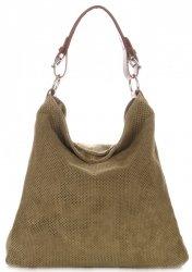 Univerzální kožená italská kabelka ažurová Army Green