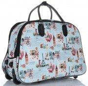 Cestovní taška na kolečkách s výsuvnou teleskopickou rukojetí Or&Mi English Girl Multicolor - světle modrá