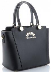 Vittoria Gotti Elegantní Dámská kabelka kožená kufřík Černá