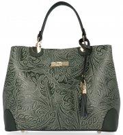 Elegantní kožený kufřík Vittoria Gotti Lahvově Zelený