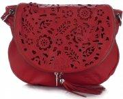 Vittoria Gotti Dámská kožená kabelka listonoška – vysoká kvalita červená