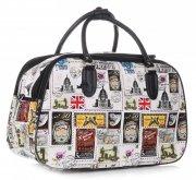 STŘEDNÍ cestovní taška kufřík Or&Mi Poštovní známky Multicolor - Bílá