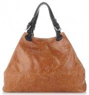Univerzální kožená italská kabelka Genuine Leather Zrzavá