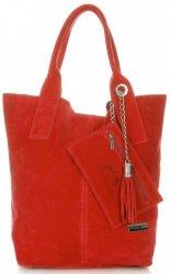 Kožené kabelky Vittoria Gotti Shopper bag Červená