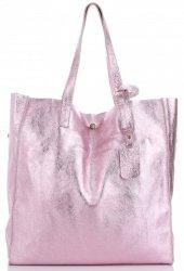 Kožená kabelka Shopper Bags kosmetickou kapsičkou Iron Růžová