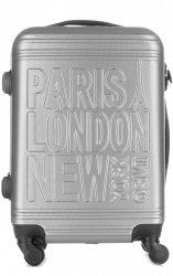 Módní Palubní kufřík Or&Mi Paris/London/NewYork 4 kolečka Stříbrná