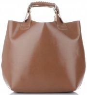 Kožená kabelka Shopperbag s kosmetickou kapsičkou Zemitá