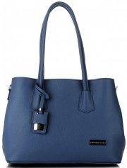 Vittoria Gotti Elegantní Dámská kabelka kožená kufřík tmavě modrá