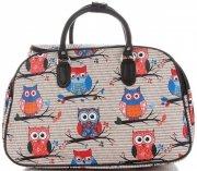 Velká cestovní taška kufřík Or&Mi vzor v sovy Multicolor - Béžová