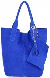 Kožené kabelky Shopperbag přírodní semiš Kobaltová