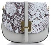 Elegantní kožená kabelka listonoška hadí vzor Světle šedá