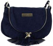Vittoria Gotti Kožená kabelka listonoška tmavě modrá