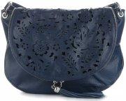 Vittoria Gotti Dámská kožená kabelka listonoška – vysoká kvalita Tmavě modrá