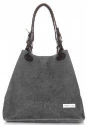 Univerzální kožená italská kabelka Vittoria Gotti Tmavě šedá