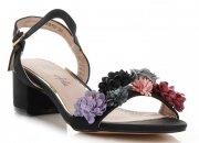 Modní Dámské Sandály na podpatku vzor v květech Lady Glory Černé