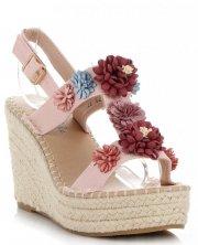 Módní Dámské Boty Na Platformě s květinami Lady Glory Práškové Růžové