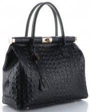 Kožené kabelky kufříky XL vzor Aligátor Genuine Leather černá