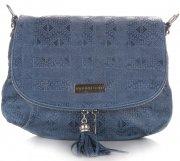 kožená kabelka listonoška Vittoria Gotti modrá