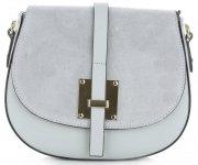 Elegantní kožená kabelka listonoška Světle šedá