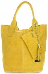 Kožené kabelky Vittoria Gotti Shopper bag žlutá