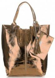 Kožené kabelky Shopper bag Lakované šampaňské